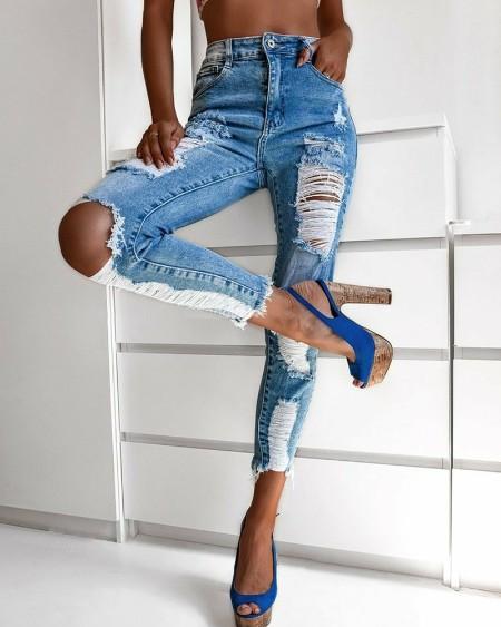 Zipper Fly Slant Pocket Ripped Raw Hem Skinny Jeans