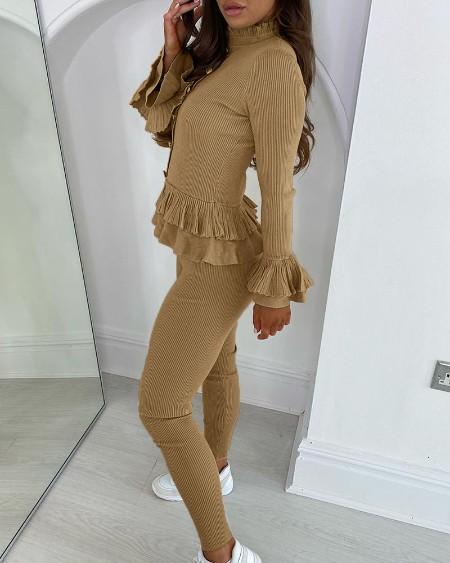Button Design Ruffles Trim Ribbed Top & Skinny Pants Set