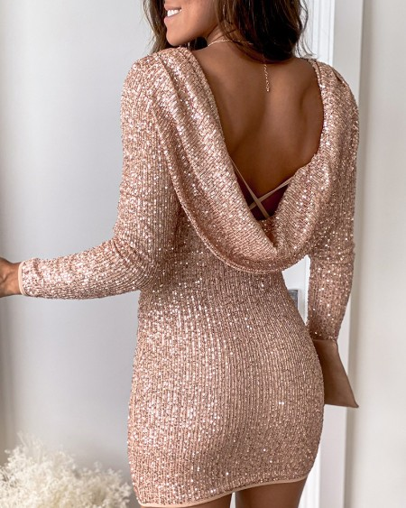 Allover Sequins Backless Cowl Neck Party Dress