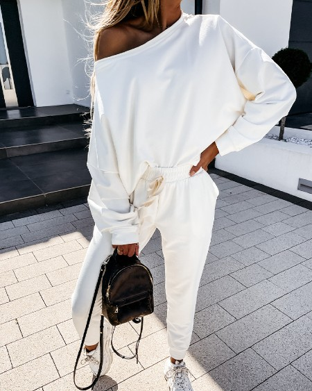 Solid Color One Shoulder Long Sleeve Sweatshirt With Pants Active Sets