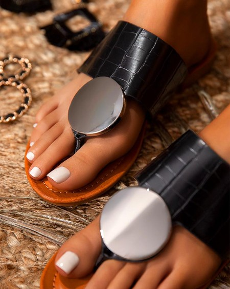 Bohemian Solid T Strap Flat Sandals