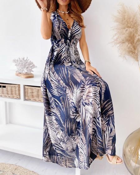 Tropical Print Tied Detail Cutout Back Maxi Dress