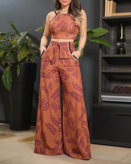 Leaf Print Sleeveless Top & Pants Set