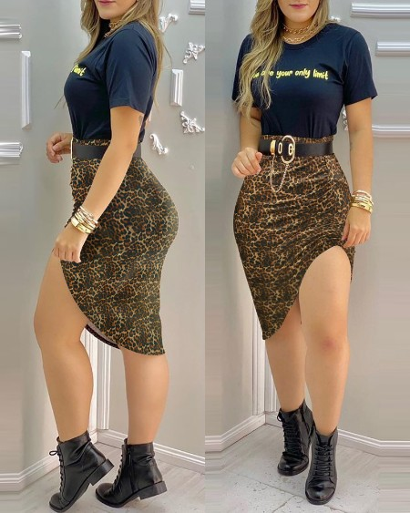 Letter Print T-shirt & Slit Cheetah Print Midi Skirt Set