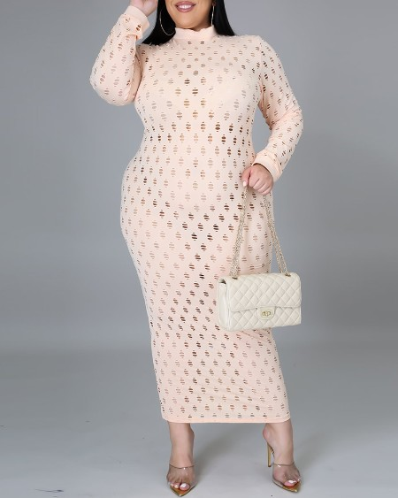 Plus Size Hollow Out Long Sleeve Cover Up Dress Without Lining