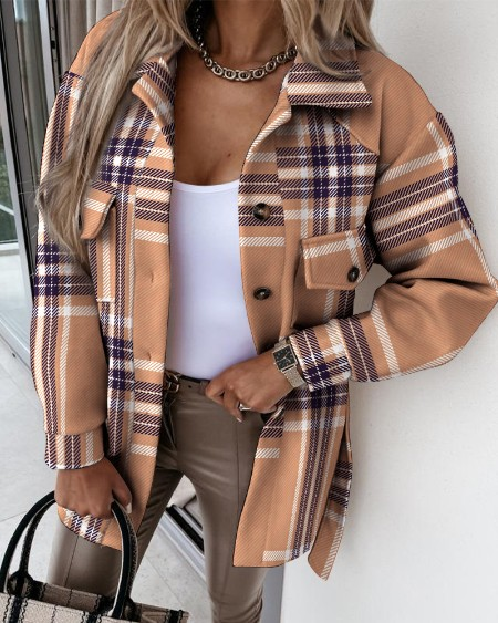 Plaid Print Flap Pocket Detail Long Sleeve Button Up Coat