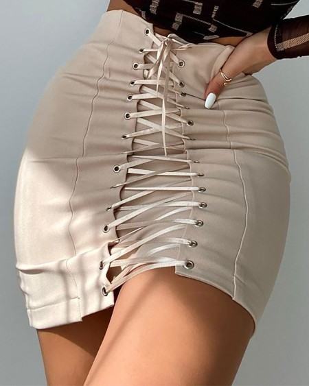 Eyelet Lace Up Zipper Design Skirt