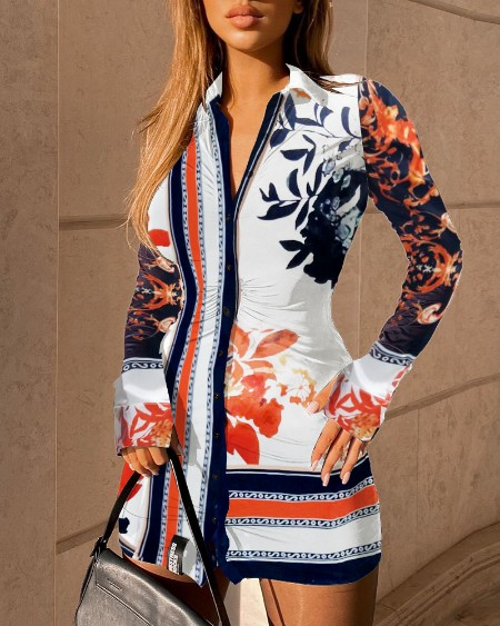 Buttoned Design Floral Print Shirt Dress