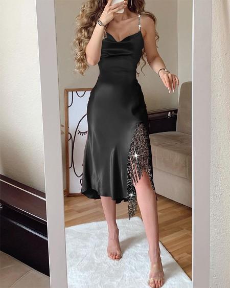 Shining Fringr Slit Straight Dress