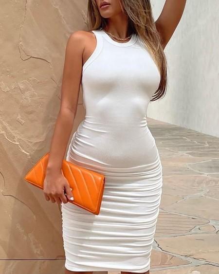 Ruched Sleeveless Skinny Midi Dress