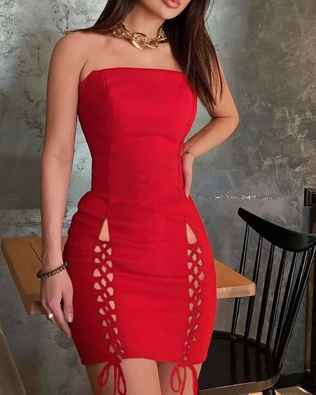 Rib-knit Lace-up Plain Bodycon Dress
