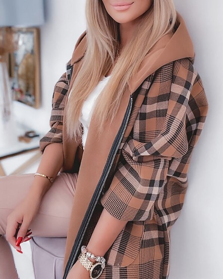 Long Sleeve Plaid Print Zipper Design Hooded Coat