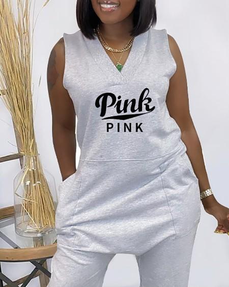 Letter Print Pocket Design Sleeveless Jumpsuit