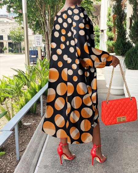 Batwing Sleeve Polkadot Print Colorblock Dress