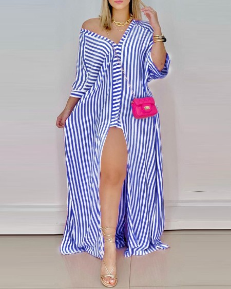 Striped Button Design High Slit Maxi Dress