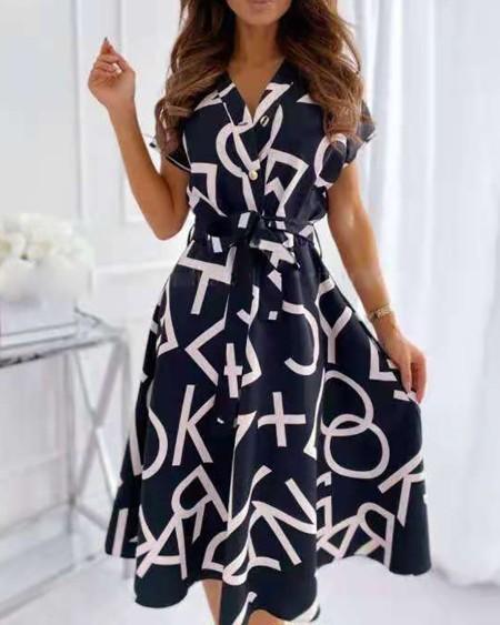 Letter Print Button Front Short Sleeve Casual Dress