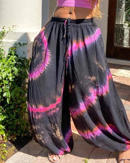 Tie Dye Print Wide Leg Pants