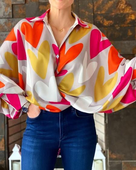 Heart Print Lantern Sleeve Casual Shirt