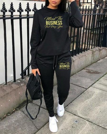 Plus Size Letter Print Long Sleeve Sweatshirt & Drawstring Sweatpants Set
