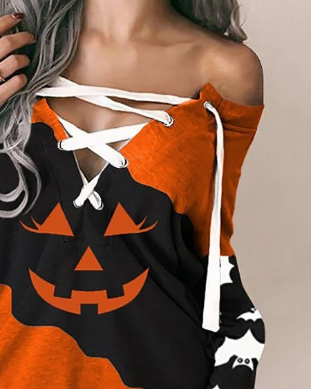 Halloween Long Sleeve Pumpkin Print Eyelet Lace-up Sweatshirt Dress