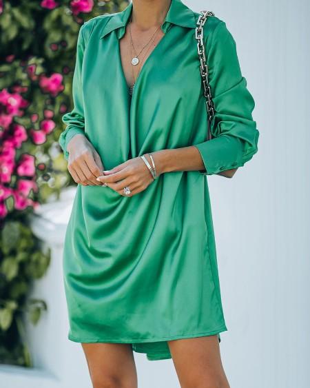 Solid Long Sleeve Loose Mini Shirt Dress