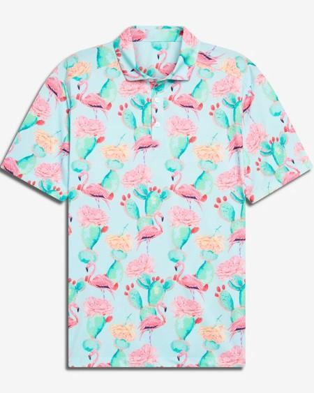 Mens Flamingo Printed Short Sleeve Button Up Polo Shirt