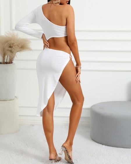 One Shoulder O-Ring High Slit Cutout Dress