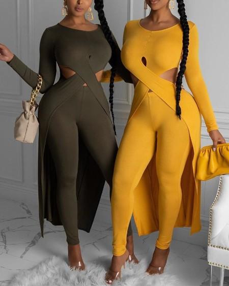 Solid Cutout Asymmetrical Top & Pants Set
