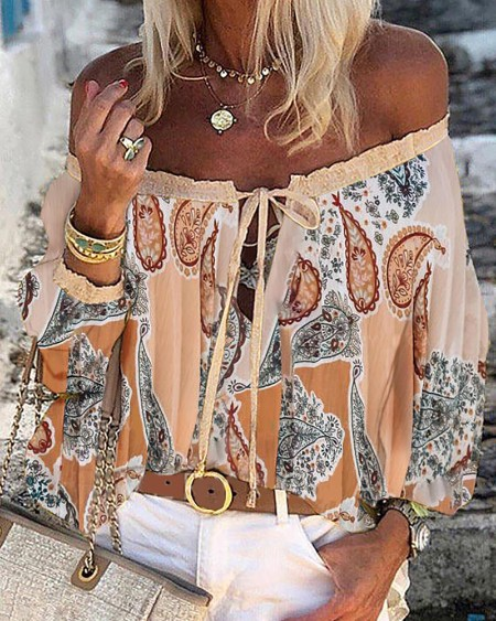 All Over Print Off Shoulder Lace Up Top