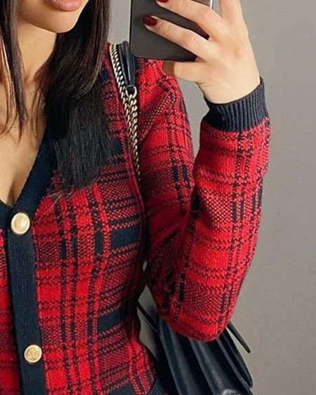 Plaid Button Design Long Sleeve Bodycon Women Dress