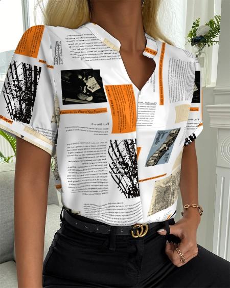 Letter Print V-neck Short Sleeve Casual Shirt