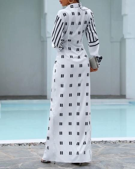 Print Twisted Design Shirt Dress