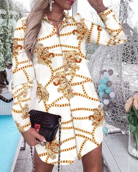 Chain Print Colorblock Longline Shirt Dress
