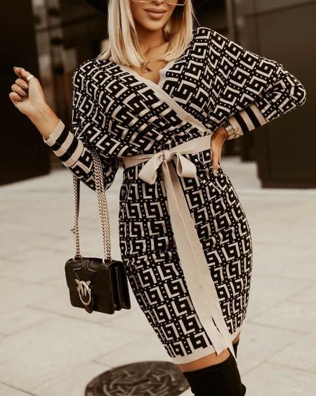 Geo Print Batwing Sleeve Belted Wrap Knit Dress