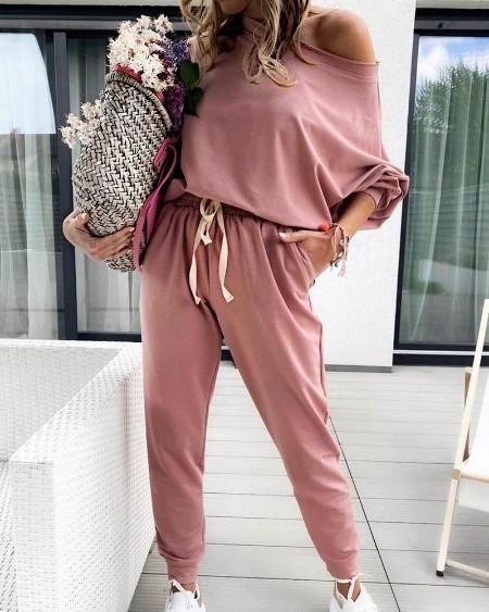 Solid One Shoulder Top & Drawstring Pants Set
