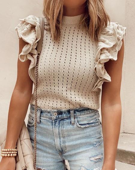 Plain Frill Hem Patchwork Rib-knit Top