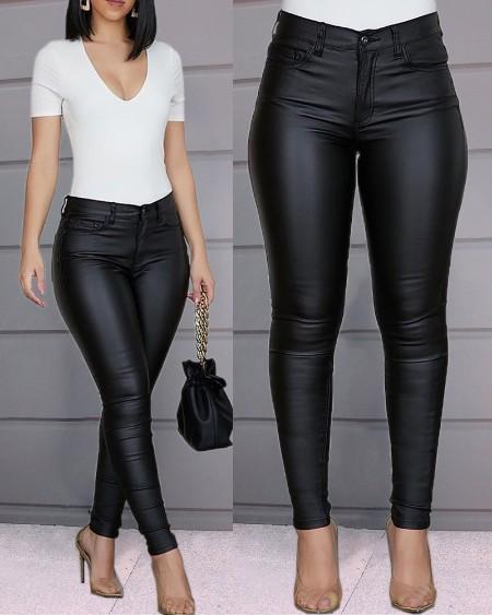 PU Leather High Waist Single Button Pants