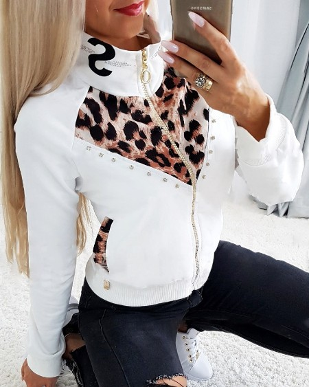 Leopard Patch Rhinestone Decor Zip Up Coat