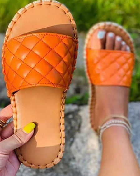 Quilted Open Toe EspadrilleSlippers