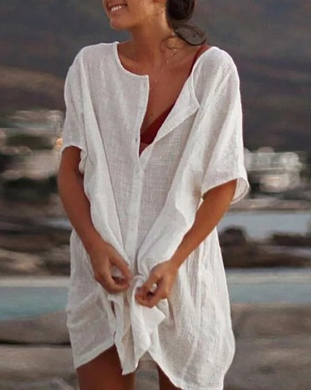 Half Sleeve Button Design T-shirt Dress