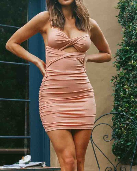 Solid Shirred Strap Slim Bodycon Mini Dress