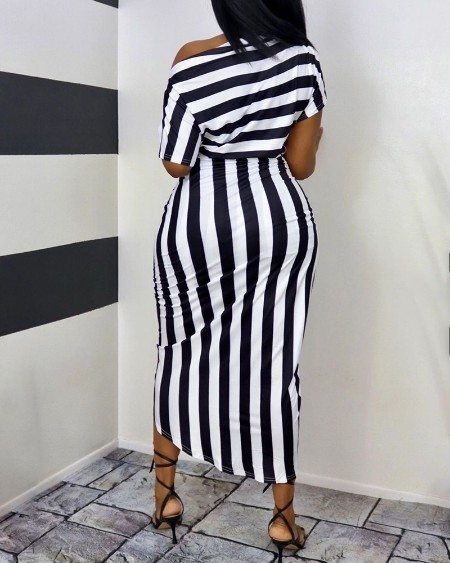 One Shoulder Striped Colorblock Ruched Casual Dress