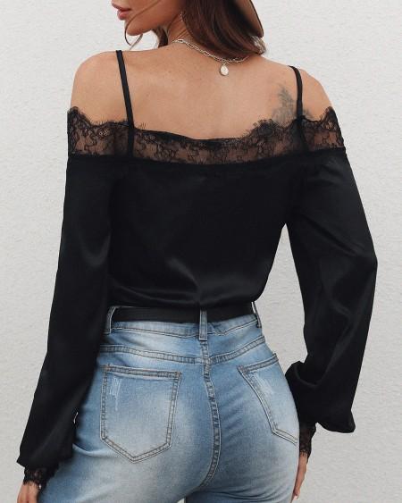 Cold Shoulder Lace Splicing chiffon blouses