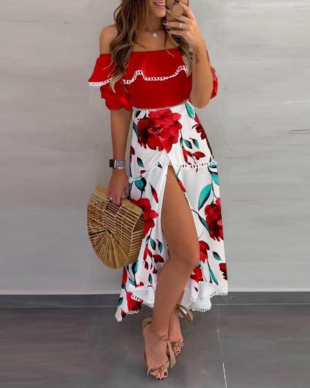 Off Shoulder Floral Print Scallop Trim Top & High Slit Skirt Set