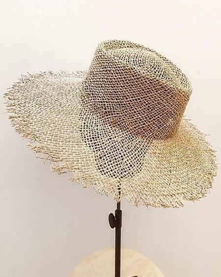Raw Hem Wide Brim Sun Hat