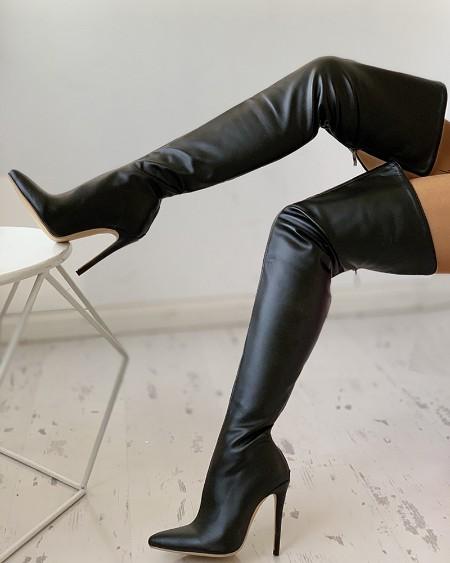 PU Zippper Thin Heeled Long Boots