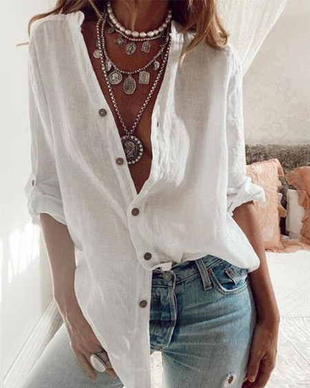 Brief Solid Loose Blouse Top