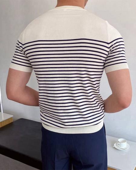 Striped Print Short Sleeve Skinny Knitted T-shirt