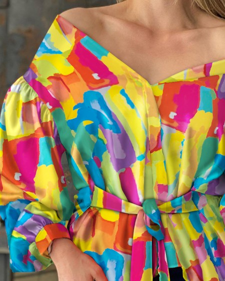 Colorful Print Lantern Sleeve Tie Front Top