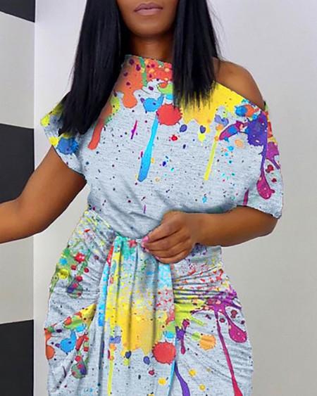 Ink Splash Print Ruched Dip Hem Dress